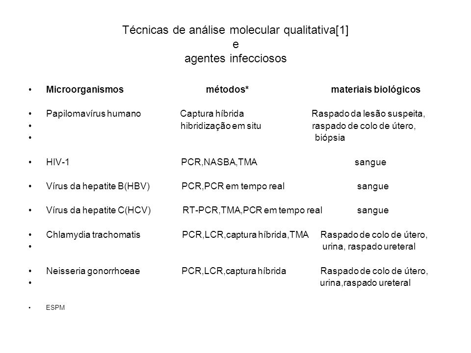Técnicas de análise molecular qualitativa[1] e agentes infecciosos